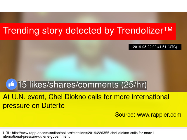 At U N  event, Chel Diokno calls for more international pressure on